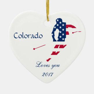 USA-Flagge Ski fahrenden Amerikaners Amerikas Keramik Ornament