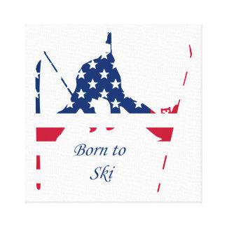 USA-Flagge Ski fahrenden Amerikaners Amerikas Leinwanddruck