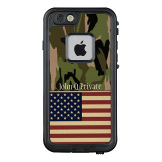 USA-Flaggen-Camouflage-Namen-Schablone LifeProof FRÄ' iPhone 6/6s Hülle
