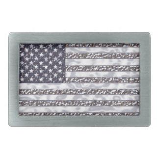 USA-Flaggen-Chrom Rechteckige Gürtelschnalle