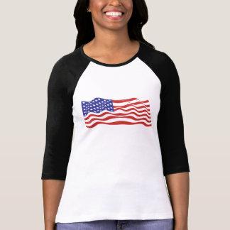 USA-Flaggen-Damen 3/4 HülseRaglan (angepasst) Hemden