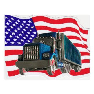 USA-FLAGGEN-FERNLASTFAHRER POSTKARTE