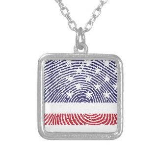 USA-Flaggen-Fingerabdruck Halskette Mit Quadratischem Anhänger