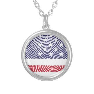 USA-Flaggen-Fingerabdruck Halskette Mit Rundem Anhänger