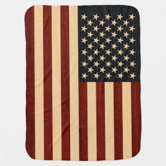 USA-FLAGGEN-HOLZ BABYDECKE