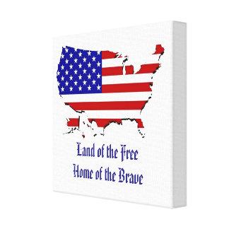 USA-Flaggen-Karte eingewickelte Leinwand