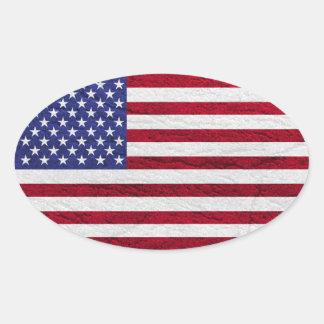 USA-FLAGGEN-LEDER OVALER AUFKLEBER