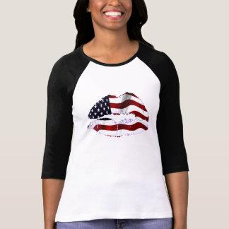 USA-Flaggen-Lippen T-Shirt