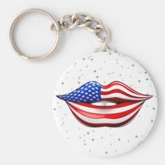 USA-Flaggen-Lippenstift auf lächelnden Lippen Keyc Schlüsselanhänger