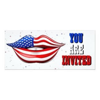 USA-Flaggen-Lippenstift auf lächelnder 10,2 X 23,5 Cm Einladungskarte