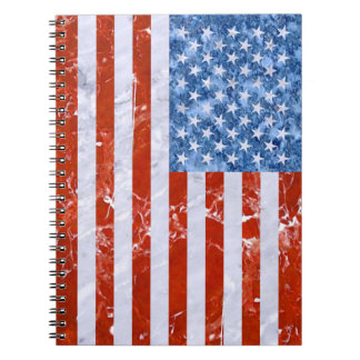 USA-FLAGGEN-MARMOR SPIRAL NOTIZBLOCK