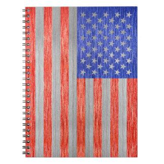 USA-FLAGGEN-METALL 1 SPIRAL NOTIZBLOCK