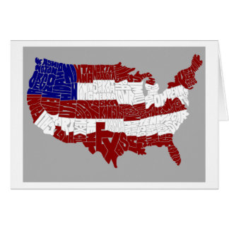 USA-Flaggen-Typografie-Karten-Geschenk-Karte - Grußkarte