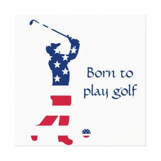 USA-Golf Amerika-Flaggengolfspieler Leinwanddruck