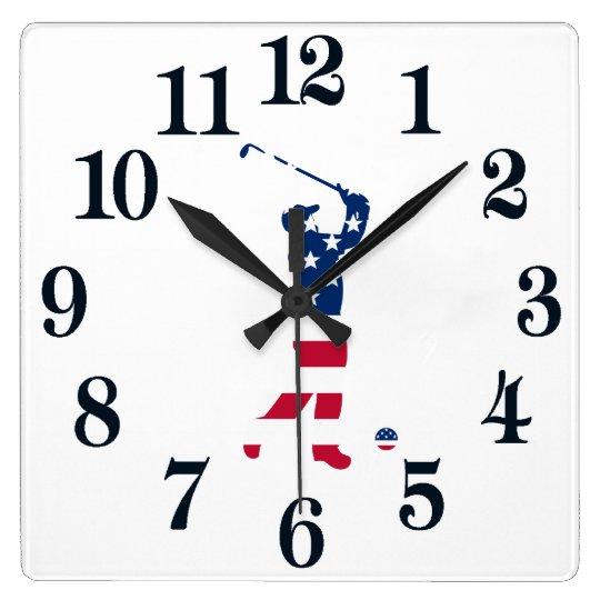 USA-Golf Amerika-Flaggengolfspieler Quadratische Wanduhr