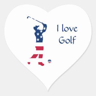USA-Golf Flaggegolfspieler Herz-Aufkleber