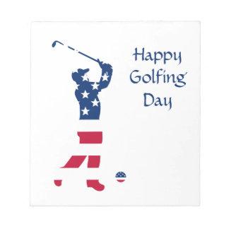 USA-Golf Flaggegolfspieler Notizblock