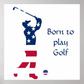 USA-Golf Flaggegolfspieler Poster
