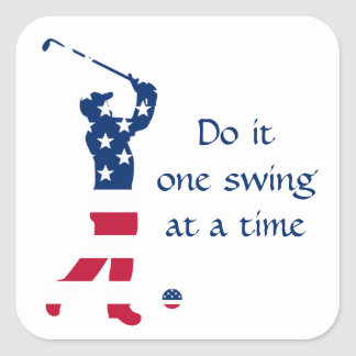 USA-Golf Flaggegolfspieler Quadratischer Aufkleber