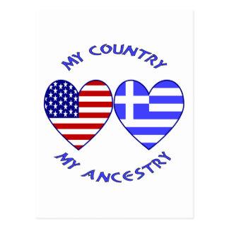 USA/griechische Land-Herkunft Postkarte
