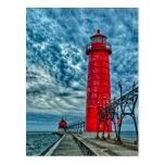 USA, großartiger Hafen, Michigan, Leuchtturm Postkarten