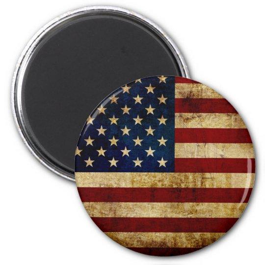 USA / Grunge Runder Magnet 5,7 Cm