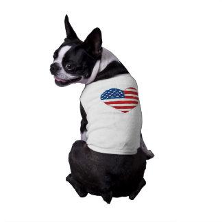 USA-Herz-Flaggen-Hündchen-T - Shirt