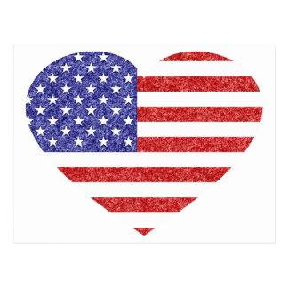 USA-Herz-Flaggen-Sterne u. Streifen in der Postkarte