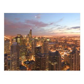 USA, Illinois, Chicago: Abends-Ansicht der Postkarte