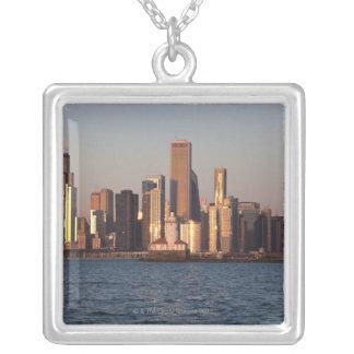 USA, Illinois, Chicago, Stadt-Skyline über See 2 Versilberte Kette