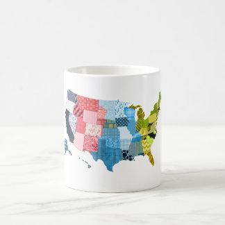 USA-Karte in einem Patchwork-Imitat-Steppdecken-En Teetassen