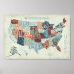 USA-Karte mit Staaten in den Wörtern