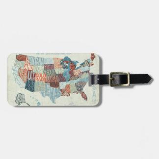 USA-Karte mit Staaten in den Wörtern Kofferanhänger