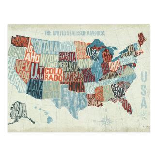 USA-Karte mit Staaten in den Wörtern Postkarten