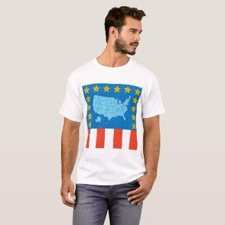 USA-Karte, Sterne und Flaggen-T-Shirt T-Shirt