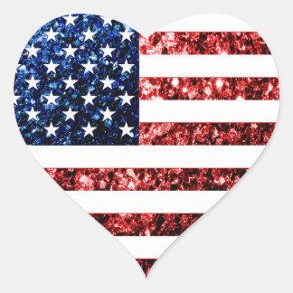 USA kennzeichnen die roten u. blauen Herz-Aufkleber