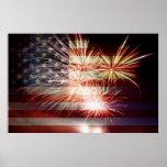 USA kennzeichnen mit Feuerwerks-Plakat