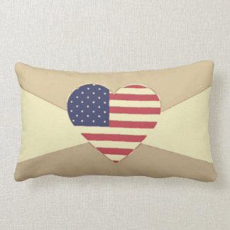 USA kennzeichnen patriotisches Herz-Vintage Retro Lendenkissen
