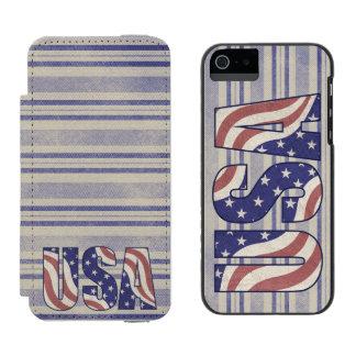 USA kennzeichnen rustikale Denimbeschaffenheit Incipio Watson™ iPhone 5 Geldbörsen Hülle