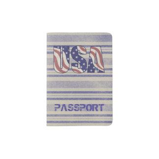 USA kennzeichnen rustikales Denimreisemonogramm Passhülle
