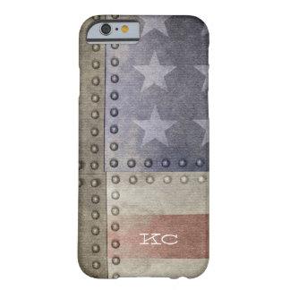 USA kennzeichnen rustikales Metallmonogramm Barely There iPhone 6 Hülle