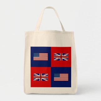 USA kennzeichnen u. BRITISCHES Flaggen-Muster Tragetasche