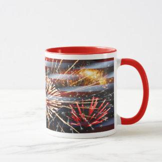 USA kennzeichnen und Feuerwerke Tasse