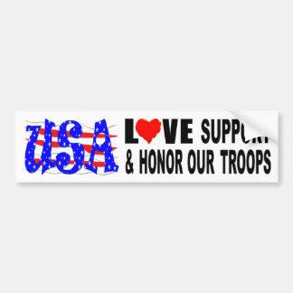 USA-Liebe-Unterstützung und ehren unsere Truppen Autoaufkleber