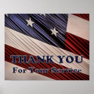 USA-Militärveteranen-patriotische Flagge danken Poster