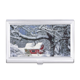 USA, Oregon, Clackamas County. Neue Schneedecke Visitenkarten Etui