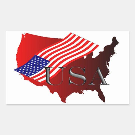 USA rot+Flagge Rechteckiger Aufkleber