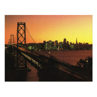 USA San Fransisco, Golden Gate am Sonnenuntergang Postkarte