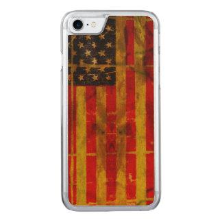 USA-Schmutz-Flagge iPhone 6 dünnes Ahorn-Holz Carved iPhone 8/7 Hülle