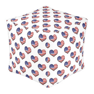 USA-Schmutz-Herz-geformtes Flaggen-Muster Hocker